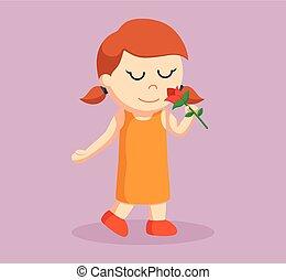 little girl smelling rose flower