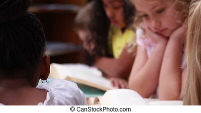 Little girl smiling at camera during library time in...