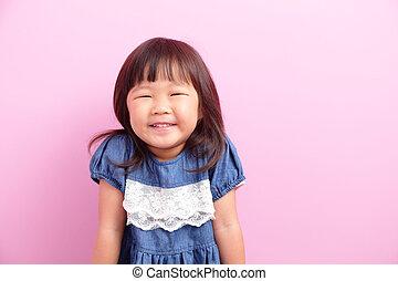 little girl smiling happy