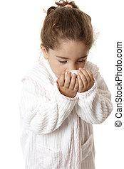 Little girl sniffing fragrant soap - Young girl in bathrobe ...