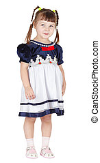 Little girl squinted slyly on white background