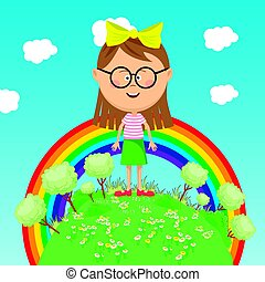 Little girl standing on green earth with trees over rainbow