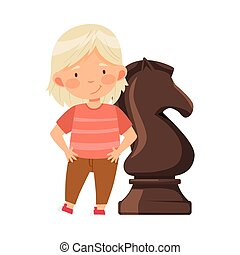 Little Girl Standing with Giant Black Knight Chess Piece or Chessman Vector Illustration