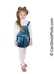 Little girl stands