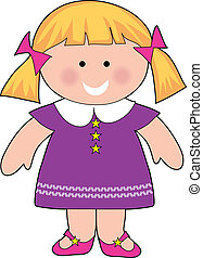 Little Girl - Little girl standing with a dress and pigtails