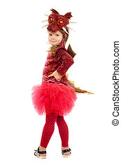 Little girl dressed as a dragon. Isolated on white