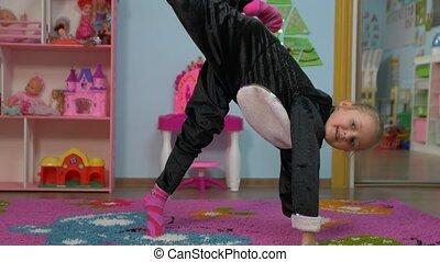 Little Girl Stretching - Little caucasian white european 5...