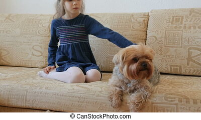 Little girl stroking dog on couch