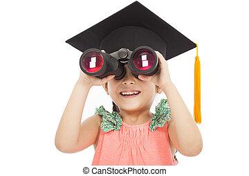 Little girl student looking through binoculars.