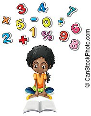 Little girl studying math illustration