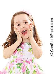 Little girl surprised - Surpprised girl over the white ...