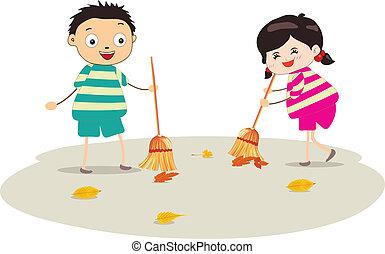 little girl sweeping