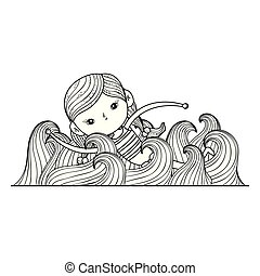 little girl swimming with swimwear character