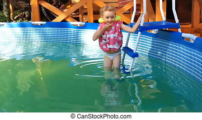 little girl swims in the pool