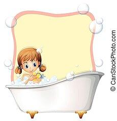 Little girl taking a bath