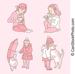 Little girl taking care of her cat