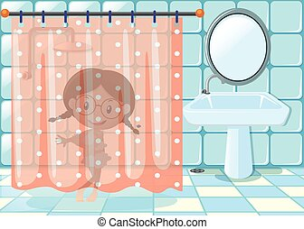 Little Girl Taking Shower In Bathroom
