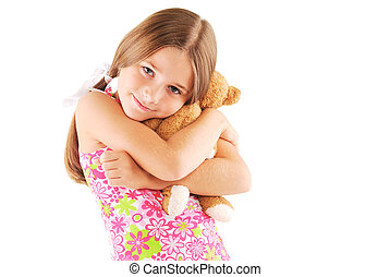 Little girl taking teddy bear