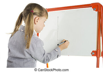 Little girl teaching near board in studio