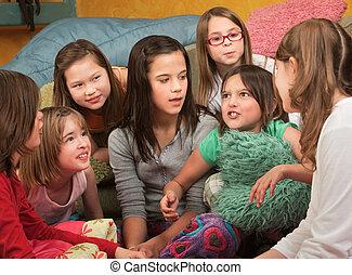 Little Girl Tells a Story - Little girl tells a story at a...