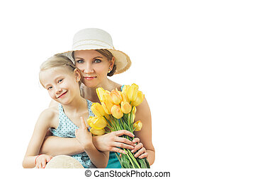 Little girl tenderly embraces his mother isolated on white background.