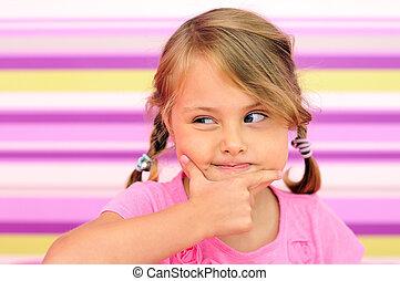 Little girl thinking gesture