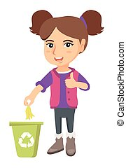 Little girl throwing banana peel in recycling bin.