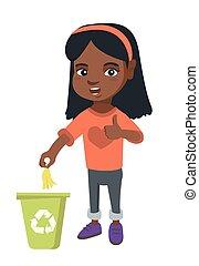 Little girl throwing banana peel in recycling bin.
