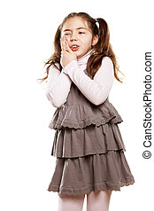 toothache - little girl toothache on white background