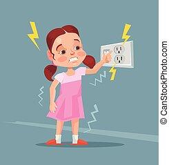 Little girl touching covered socket. Vector flat cartoon...