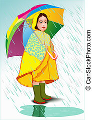 Little girl under umbrella