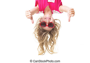 Little girl upside down - A Little girl with upside down ...