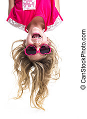 Little girl upside down