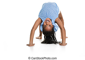 little girl upside down on a white background
