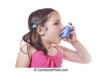 Little girl uses medical spray for breath - Little sick girl...