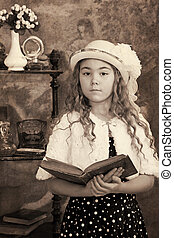 Little girl vintage photograph - Little girl portrait. ...