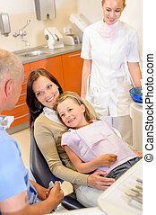 Little girl visit dentist surgery with mother - Little girl...