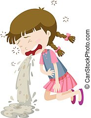 Little girl vomiting from food poisoning illustration