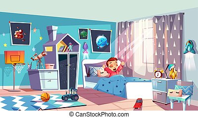 Little girl waking up in bedroom vector