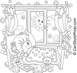 Friendly smiling small child awoke from sleep in a small bed of a nursery room with toys on a bright sunny morning, black and white outline vector cartoon illustration for a coloring book page