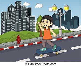 Little girl walking at the street