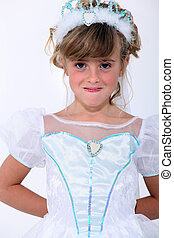 little girl wearing a princess dress