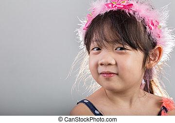 Little Girl Wearing Flower Crown