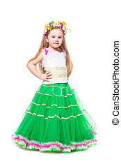 Little girl wearing fluffy dress