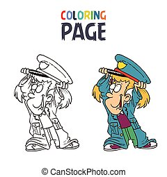little girl wearing police clothes cartoon coloring page