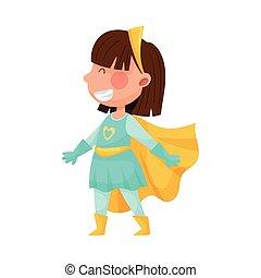 Little Girl Wearing Superhero Costume Pretending to Have Super Power Vector Illustration