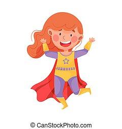 Little Girl Wearing Superhero Costume Waving Hand and Jumping Vector Illustration