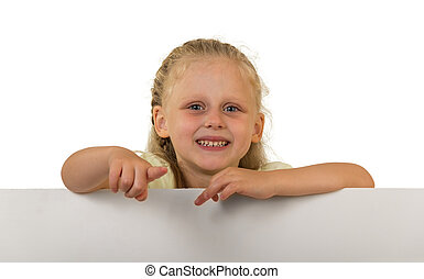 Little girl with a beautiful hairstyle holding a banner, isolated on white