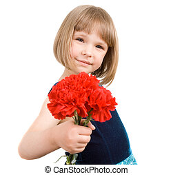 little girl with a bouquet of carnations