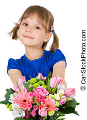 little girl with a bouquet of flowe